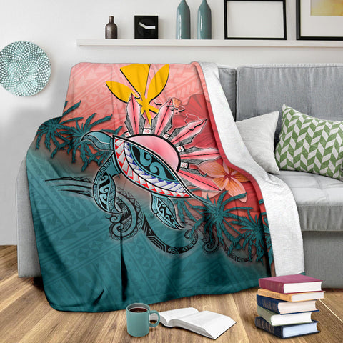 Image of Kanaka Maoli (Hawaiian) Premium Blanket - Polynesian Turtle and Sun A18