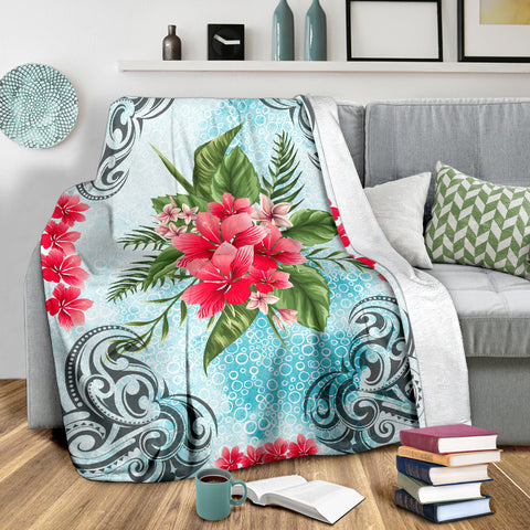 Image of Hawaiian Hibiscus And Poly Premium Blanket |Home Set | 1sttheworld