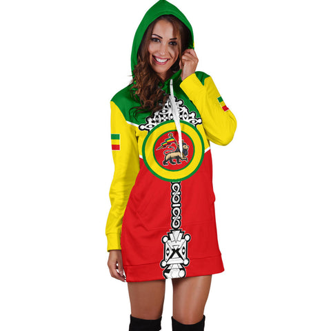 Ethiopian Hoodie Dress, Ethiopia Rising Coptic Cross Lion Women A10