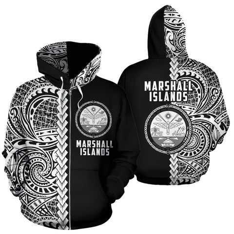 Marshall Islands Hoodie Polynesian - Half Style (Zip)