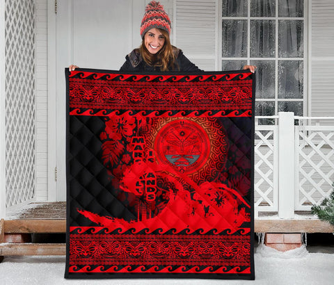 Marshall Island Quilt Wave Red Design K62