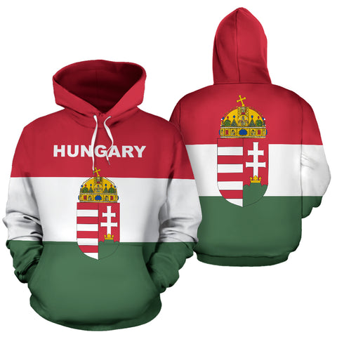 Hungary Flag and Coat of Arms Hoodie - Front and Back - Hoodie Red mix White and Green color - by 1sttheworld for Men and Women