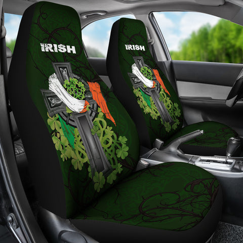 Irish Car Seat Cover Shamrock Celtic Cross A18