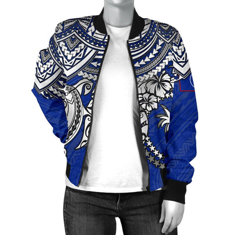 Chuuk Polynesian Bomber Jacket (Women) - White Turtle (Blue) - BN1518