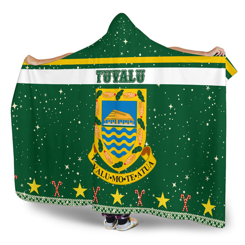 Tuvalu Coat Of Arms Hooded Blanket - Green