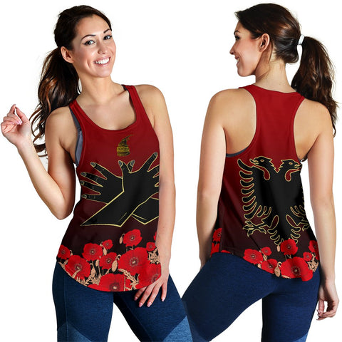 Image of Albania Flag Double Eagle Hand Women's Racerback Tank A15