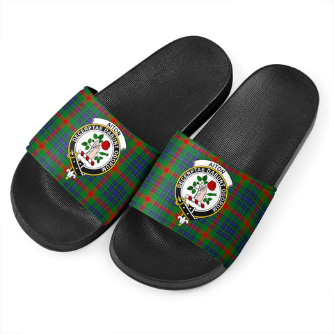 Tartan Slide Sandals - Aiton Clans - Black Version