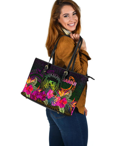 Polynesian Hawaii Large Leather Tote - Summer Hibiscus