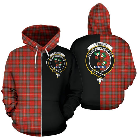 (Custom your text) Fraser Weathered Tartan Hoodie Half Of Me TH8