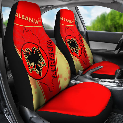 Image of Albania Car Seat Covers Circle Stripes Flag Version K13