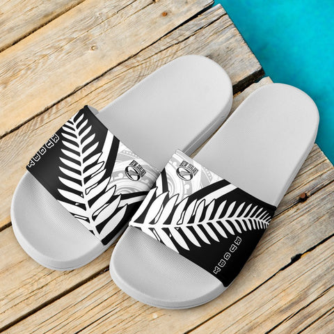 Image of New Zealand Rugby White Slide Sandals - New Zealand Fern & Maori Patterns