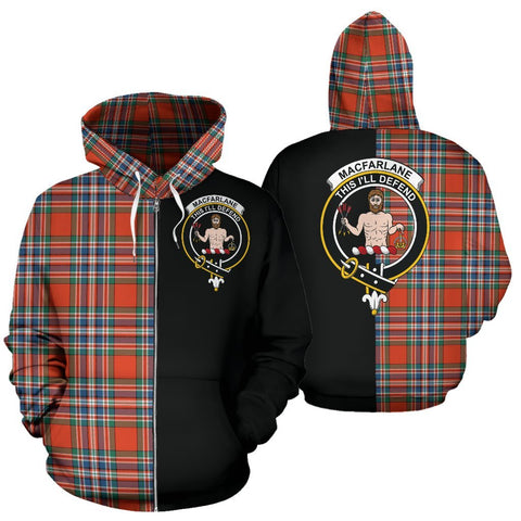 (Custom your text) MacFarlane Ancient Tartan Hoodie Half Of Me TH8