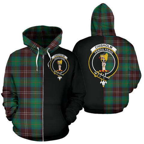 (Custom your text) Chisholm Hunting Ancient Tartan Hoodie Half Of Me TH8