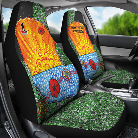 Aboriginal Australian Anzac Day Car Seat Covers - Lest We Forget Poppy 3