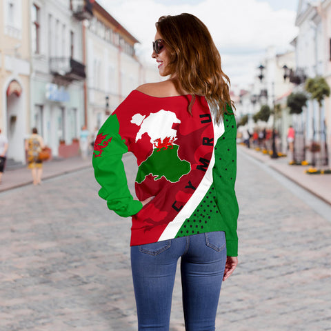 (Cymru) Wales Map Generation II Off Shoulder Sweater K6 - Red and Green - Back - for Women