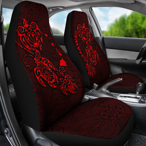 Hawaii Family Turtles Map Polynesian Car Seat Covers - Red 2