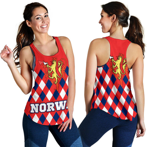 Norway Women's Racerback Tank - Norway Lion with Flag Color