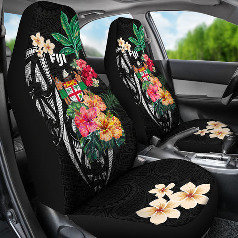 Fiji Car Seat Covers Coat Of Arms Polynesian With Hibiscus-2 TH5