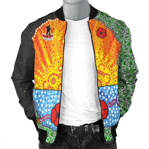Aboriginal Australian Anzac Day Men Bomber Jacket - Lest We Forget Poppy 3