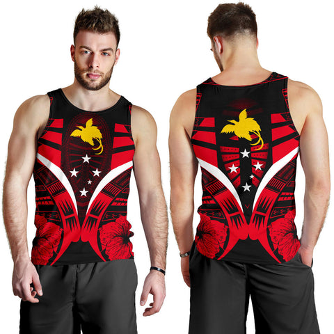 Papua New Guinea Tattoo Men Tank Top Hibiscus - Red Color 3