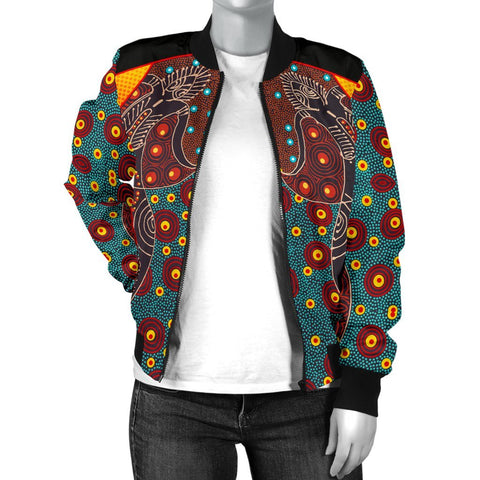 Australia Women's Bomber Jacket - Aboriginal Sublimation Dot Pattern Style (Red)