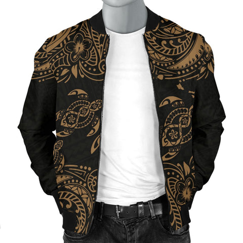 Image of Hawaii Polynesian Men's Bomber Jacket - Gold Sea Turtle - BN12
