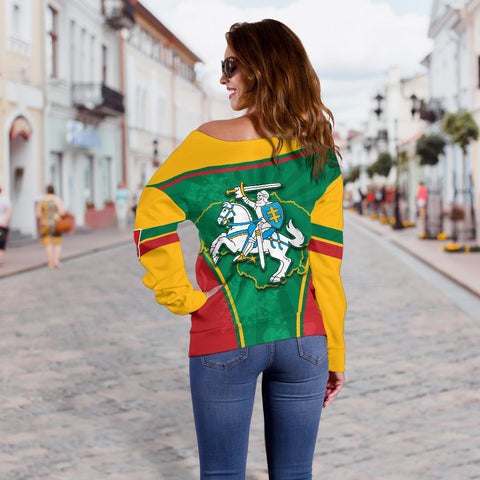Lithuania - Lietuva Off Shoulder Sweater Circle Stripes Flag Proud Version K13