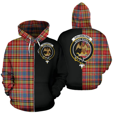 (Custom your text) Drummond of Strathallan Tartan Hoodie Half Of Me TH8