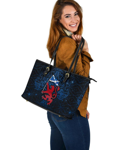 Scotland Celtic Large Leather Tote Bag - Lion Rampant With Scotland Flag