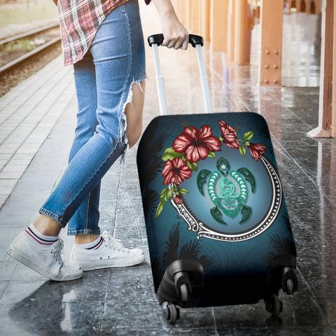 Image of Kanaka Maoli (Hawaiian) Luggage Covers  -  Polynesian Ohana Turtle Hibiscus Mother Son A24