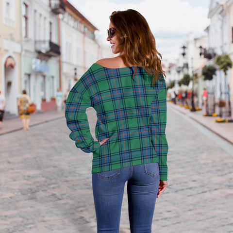 Image of Tartan Womens Off Shoulder Sweater - Shaw Ancient - Bn