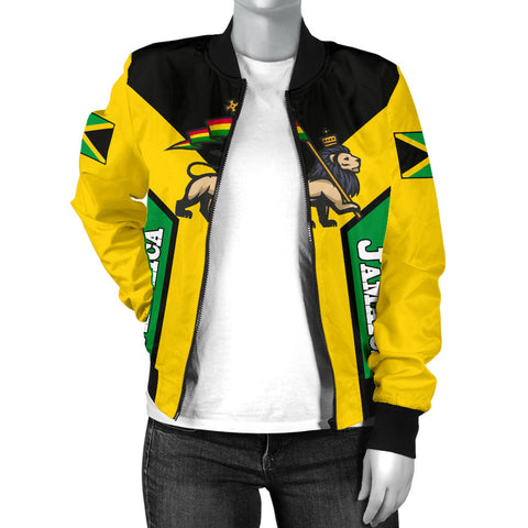 Image of Jamaica Bomber Jacket, Jamaica Rasta Rising Flag Women A10