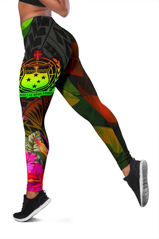 Samoa Polynesian Women's Leggings -  Hibiscus and Banana Leaves