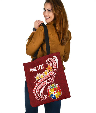 Tonga Personalised Tote Bags - Tonga Coat Of Arms With Polynesian Patterns