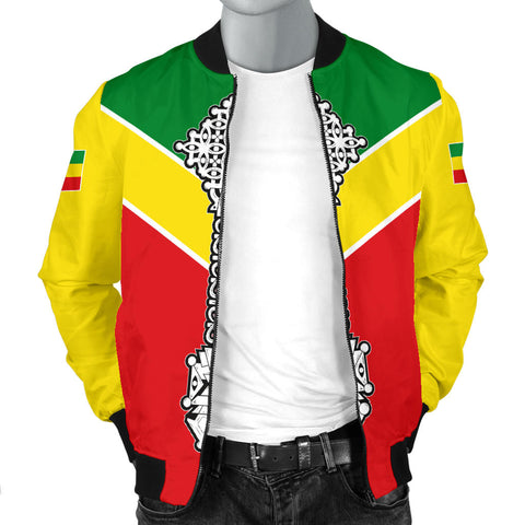 Image of Ethiopian Bomber Jacket, Ethiopia Rising Coptic Cross Lion Men A10