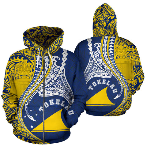 Image of Tokelau All Over Zip-Up Hoodie Manta Polynesian