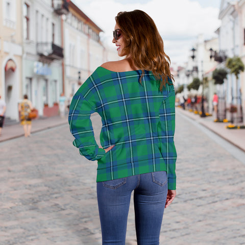 Tartan Womens Off Shoulder Sweater - Irvine Ancient - Bn