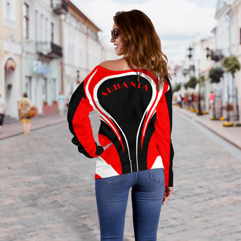 Albania Flag Women's Off Shoulder Sweater Cannon Style back