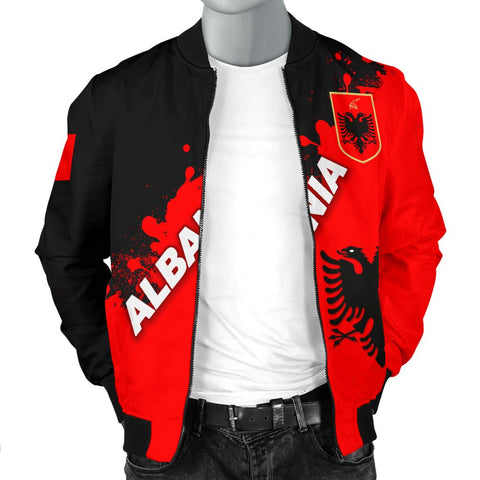 Image of Albania Men Bomber Jacket Red Braved Version K12
