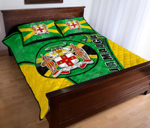 Jamaica Lion Quilt Bed Set Circle Stripes Flag Version K13