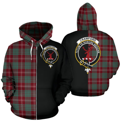 (Custom your text) Crawford Modern Tartan Hoodie Half Of Me TH8