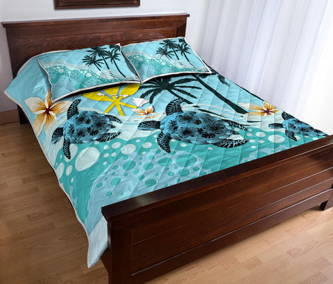 Hawaii Quilt Bed Set - Blue Turtle Hibiscus A24