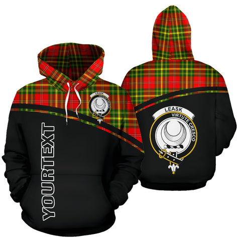 Leask Tartan Custom Personalised Hoodie - Curve Style