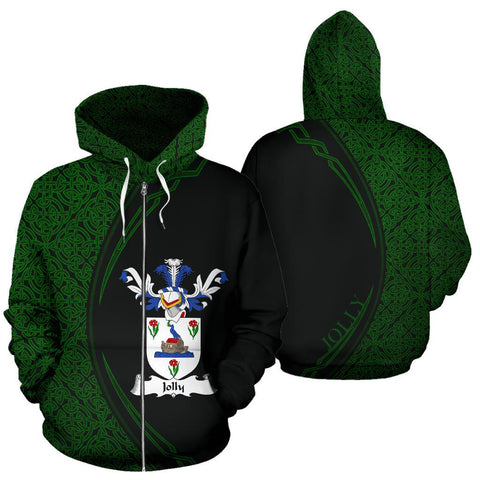 Image of Jolly Family Crest Zip Hoodie Irish Circle Style Hj4