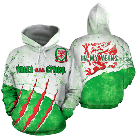 Welsh Dragon Scratch Hoodie - Front and Back for Men and Women