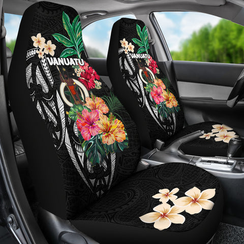 Vanuatu Car Seat Covers Coat Of Arms Polynesian With Hibiscus TH5