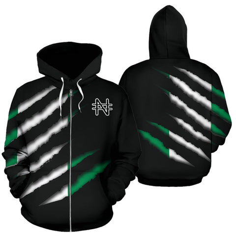 Image of Nigeria All Over Zip-Up Hoodie - Inside Me