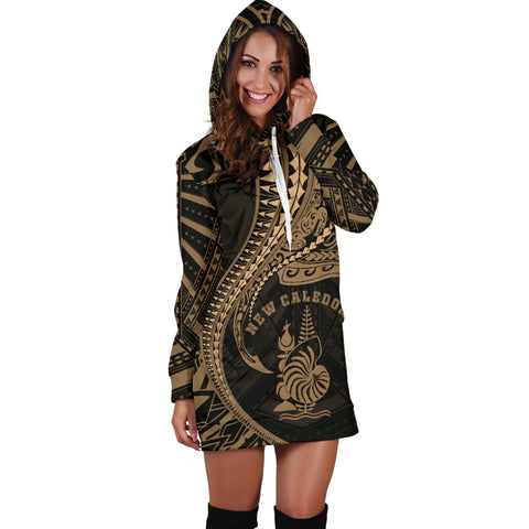 New Caledonia Women's Hoodie Dress Kanaloa Tatau Gen NC (Gold) TH65