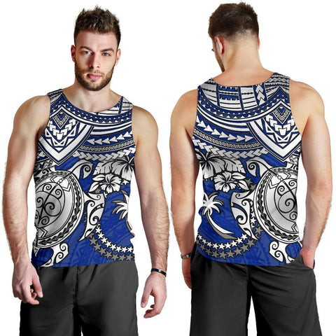 Chuuk Polynesian Men's Tank Top - White Turtle (Blue)