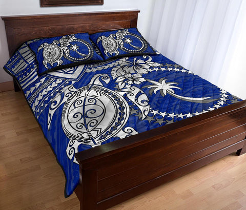 Chuuk Polynesian Quilt Bed Set - White Turtle (Blue) - BN1518